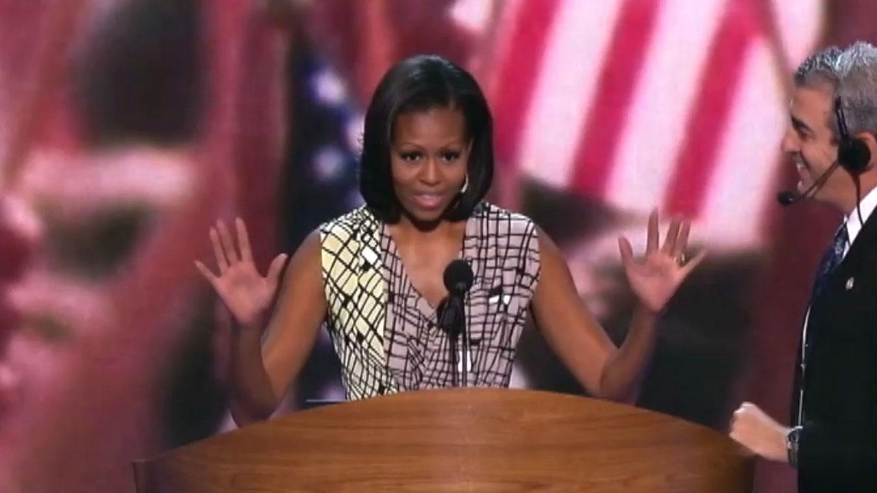 First lady Michelle Obama prepares to speak at the Democratic National Convention on Monday, Sept. 3, 2012.