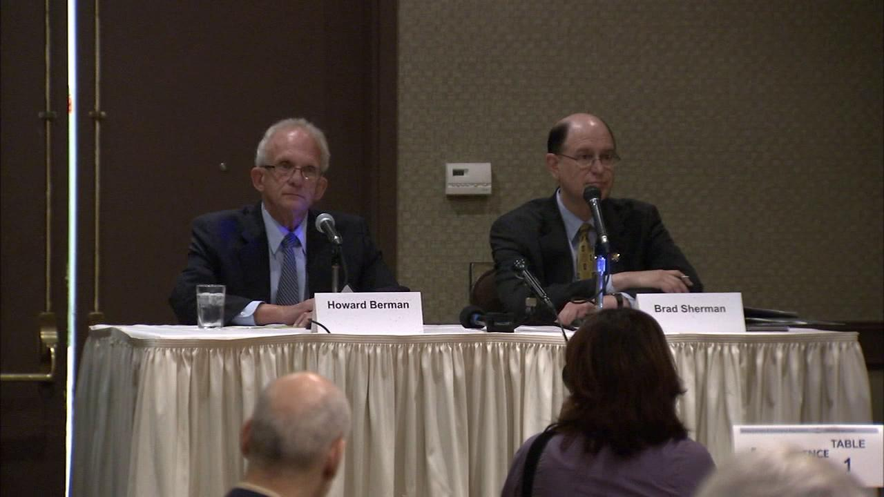 Congressmen Howard Berman and Brad Sherman are seen at a debate in Van Nuys on Tuesday, Sept. 25, 2012.