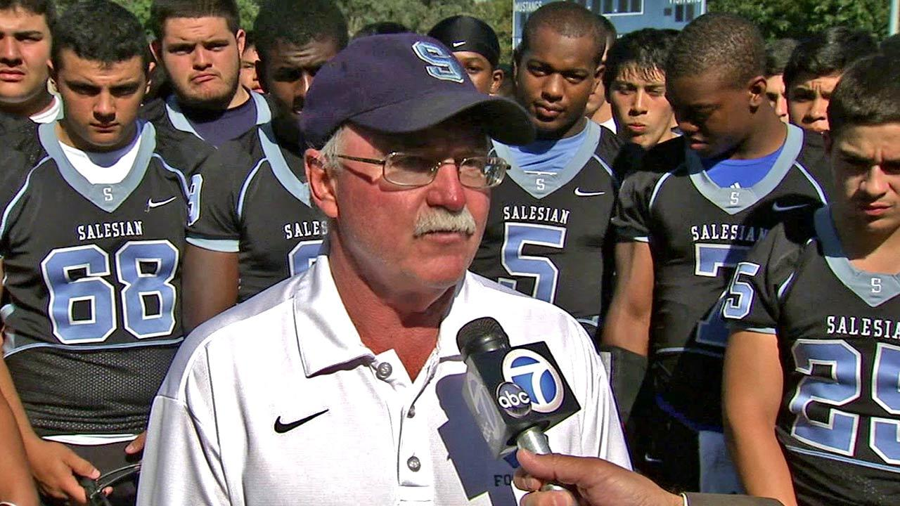 Football coach Roddy Hiatt of Bishop Mora Salesian High School in Boyle Heights in this undated file photo from 2012.