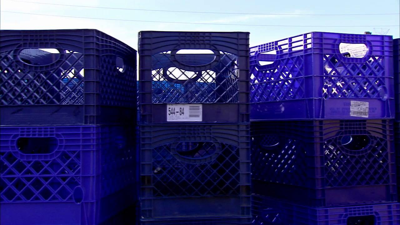 Plastic crates are seen in this undated file photo.