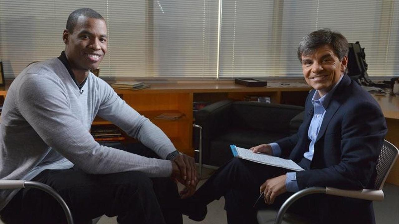 NBA basketball veteran Jason Collins, left, poses for a photo with ABC News television journalist George Stephanopoulos, Monday, April 29, 2013, in Los Angeles.