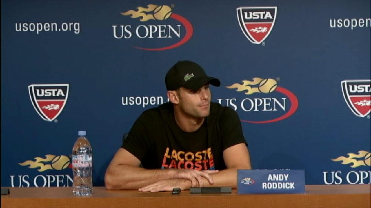 Andy Roddick speaks during a news conference at the 2012 US Open tennis tournament on Thursday, Aug. 30, 2012, in New York. Roddick announced that the U.S. Open will be the last tournament of his career.