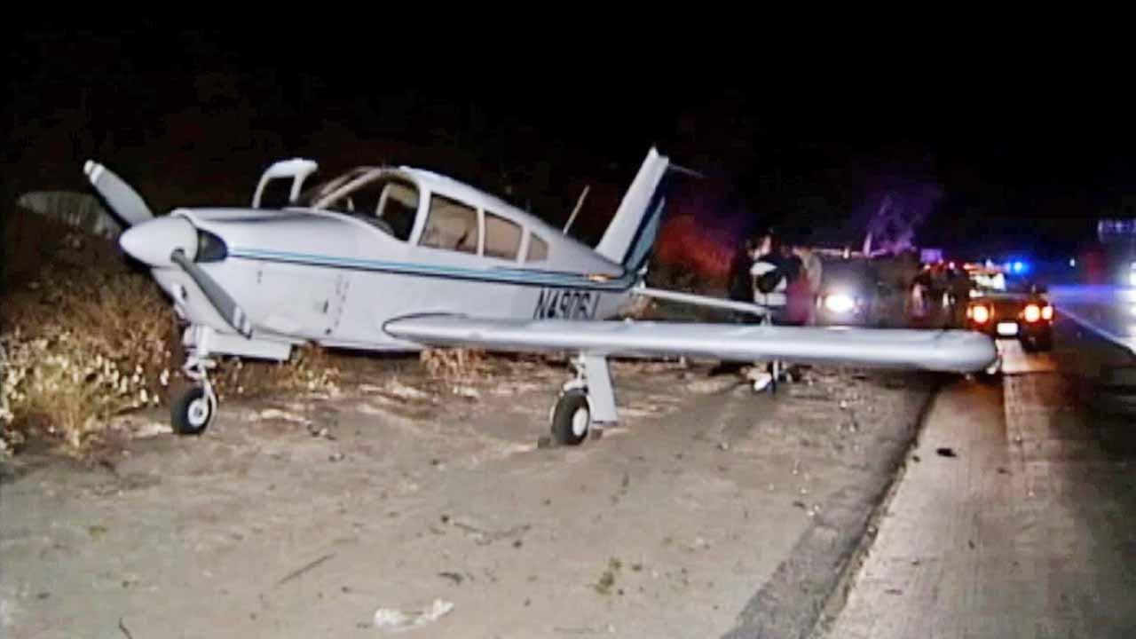 A small plane made an emergency landing on the 15 Freeway near El Norte Parkway at about 11:30 p.m. Sunday.