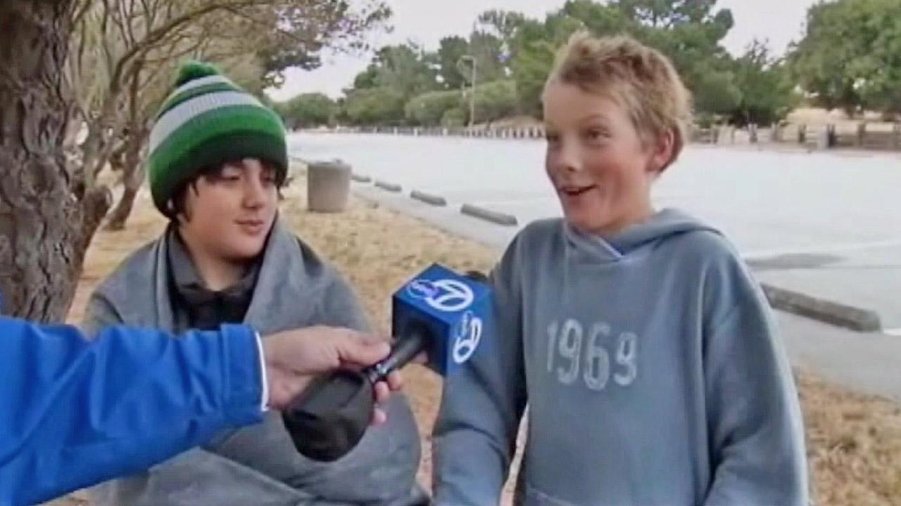 Two boys, seen above, were rescued by a Good Samaritan when their boat began to sink in the San Francisco Bay.