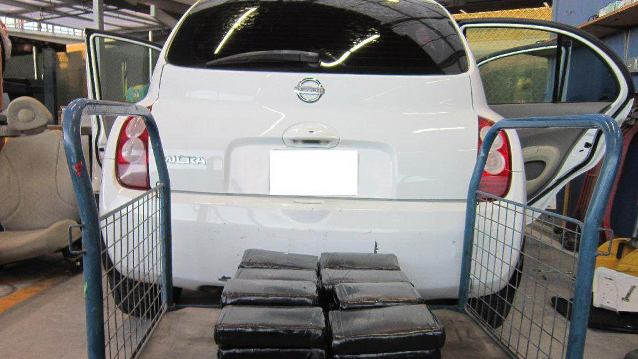A 38-year-old male Mexican citizen was arrested at the San Ysidro port of entry Friday, Nov. 16, 2012. The suspect was caught trying to smuggle 82 pounds of cocaine in a white Nissan Micra.