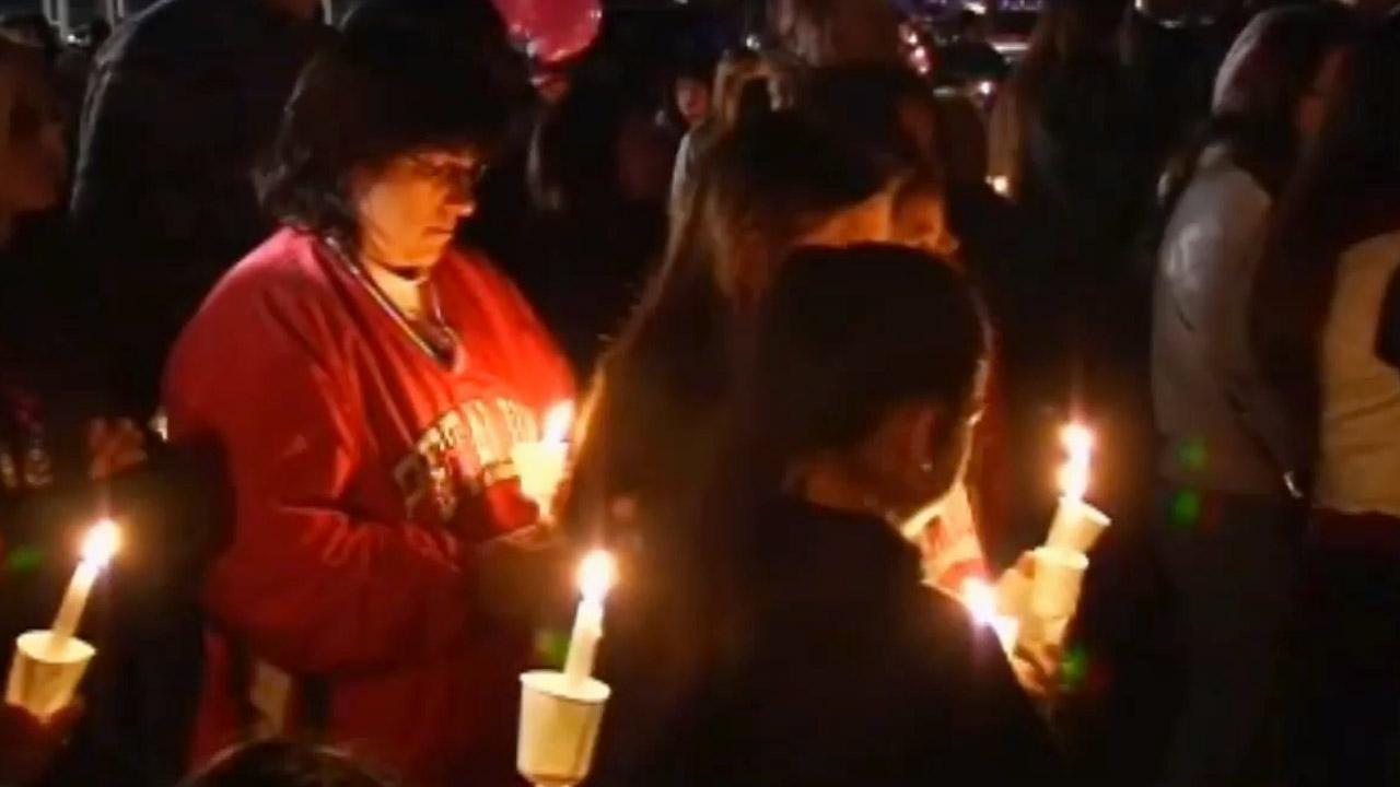 Hundreds of family members and friends attended a vigil in Petaluma for Alyssa Byrne Friday, Jan. 4, 2012.