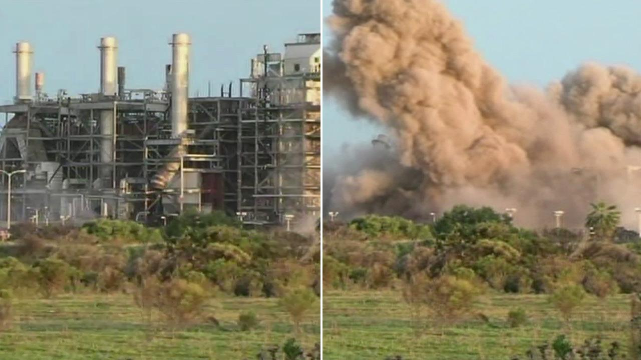 The South Bay Power Plant in Chula Vista collapsed into a pile of rubble after demolition experts imploded it on Saturday, Feb. 2, 2013.