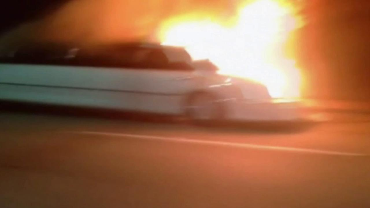 A limousine caught on fire on the San Mateo Bridge in the San Francisco area on Saturday, May 4, 2013.