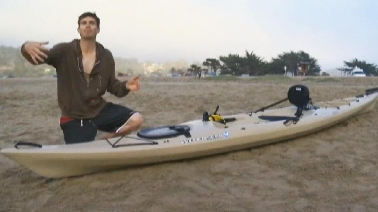 A shark bit down on a kayak in the ocean off Pacifica near South San Francisco Tuesday.