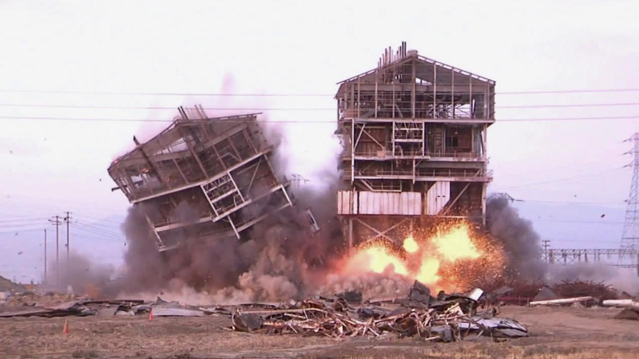 A decommissioned power plant in Bakersfield  is demolished on Saturday, Aug. 3, 2013.