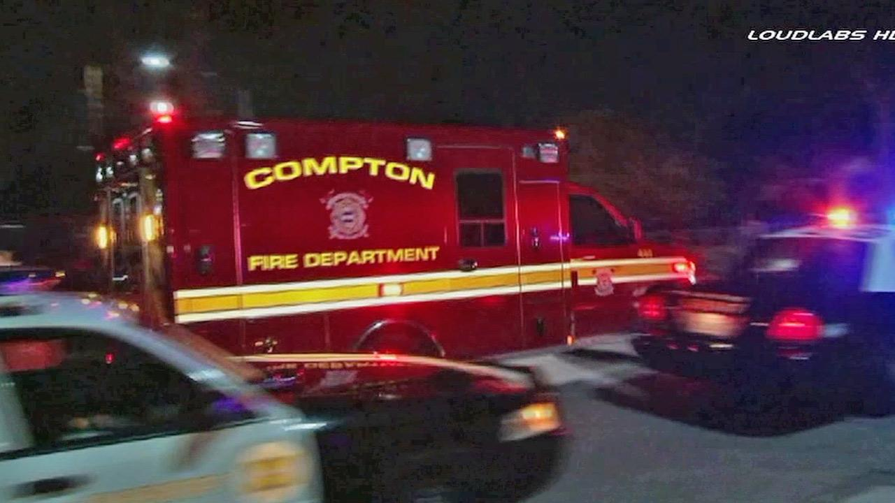 A Compton Fire Department truck is shown at the scene, where a mother accidentally gave her baby some vodka, thinking it was water.