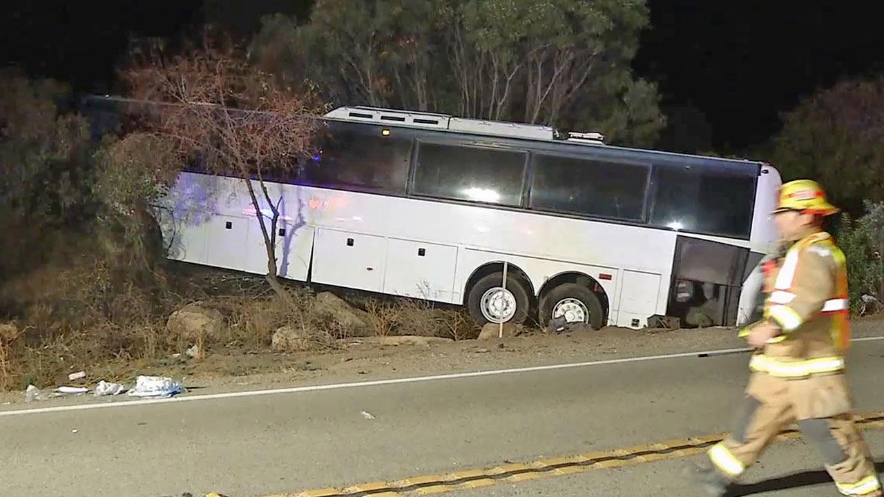 A tour bus crashed in San Diego County in the Pala-Temecula area on Sunday, Sept. 1, 2013.
