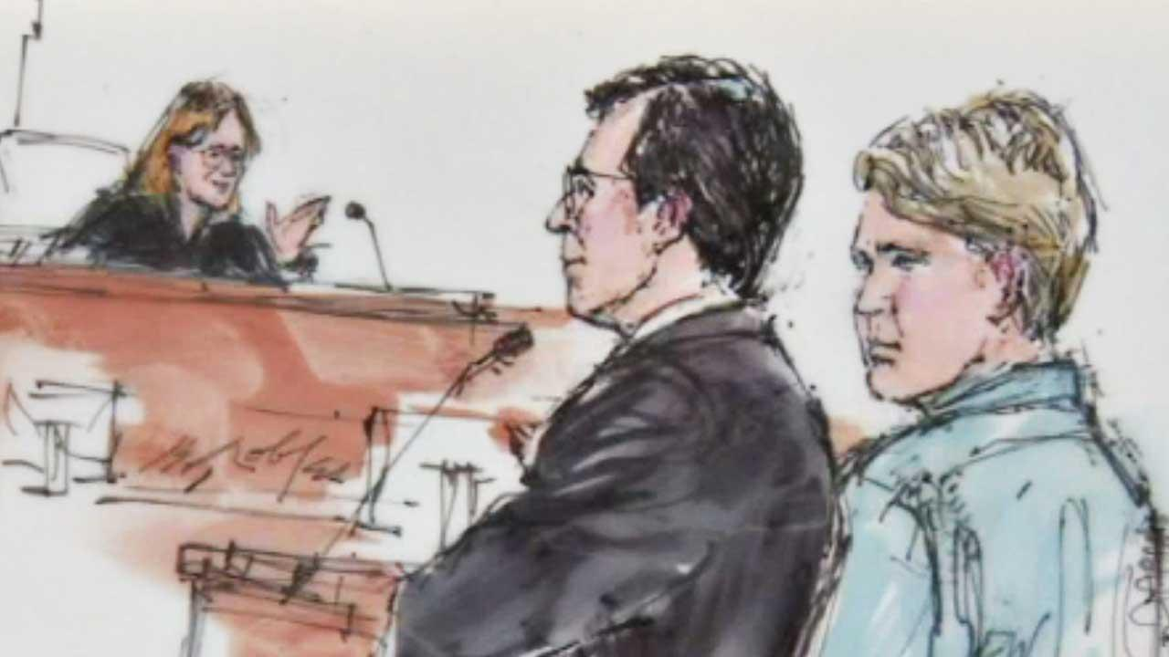 A sketch by Bill Robles shows 19-year-old Jared Abrahams during his first court appearance on Sept. 26, 2013.
