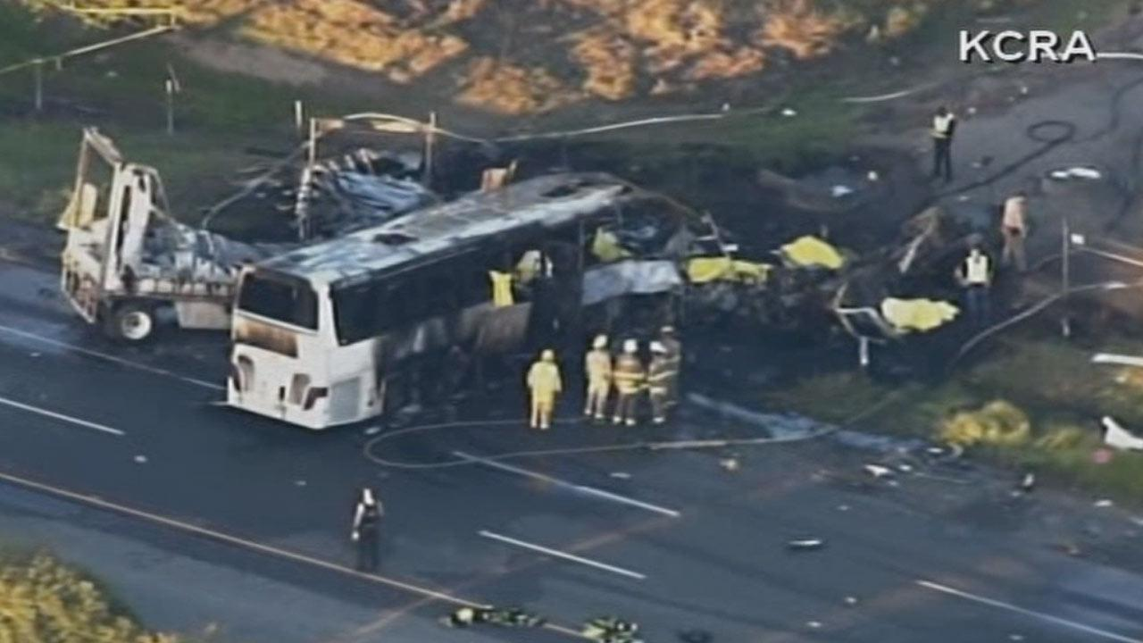 A tour bus carrying students collided with a FedEx tractor-trailer on I-5 in Northern California, killing at least 9 on Thursday, April 10, 2014.