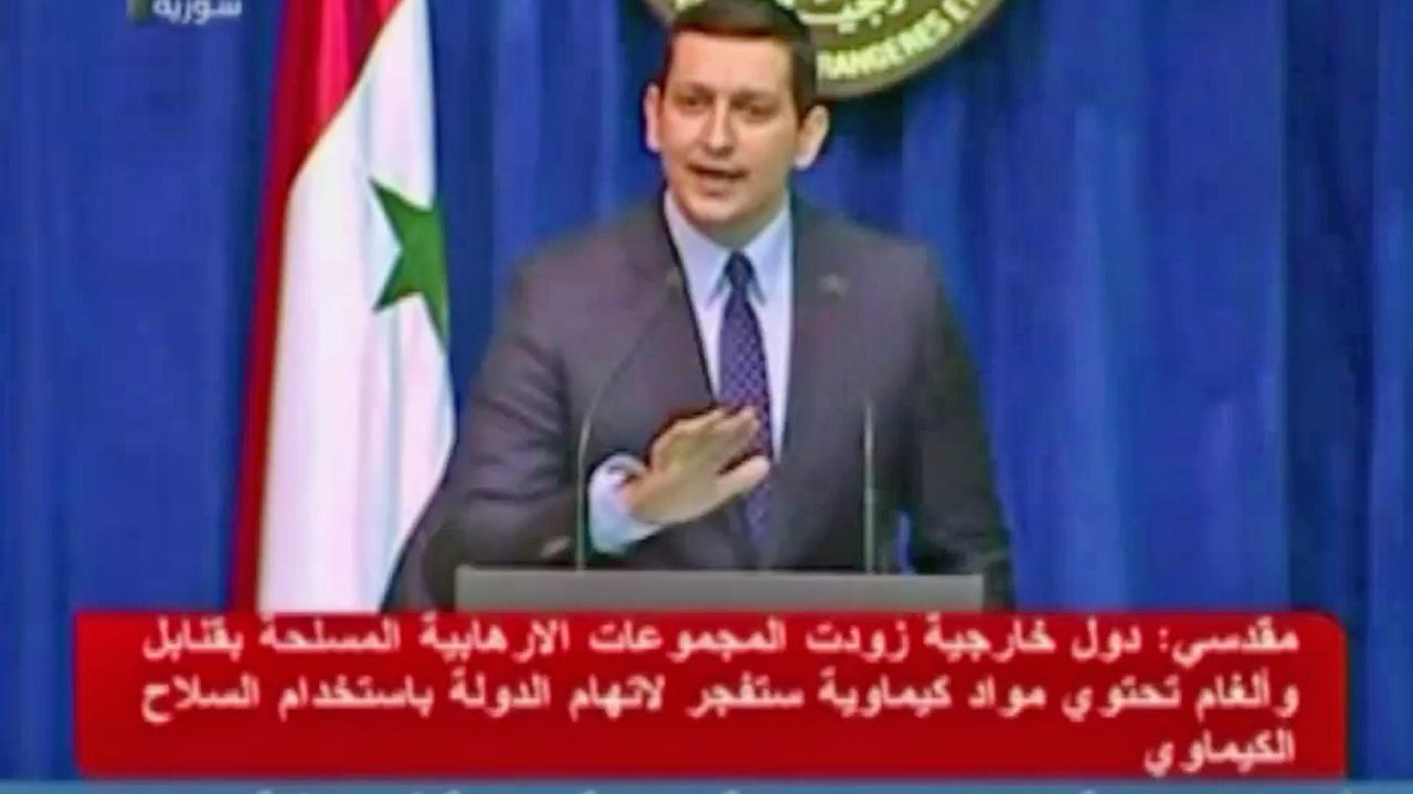 A Syrian official is seen in an undated still from footage of Syrian television.