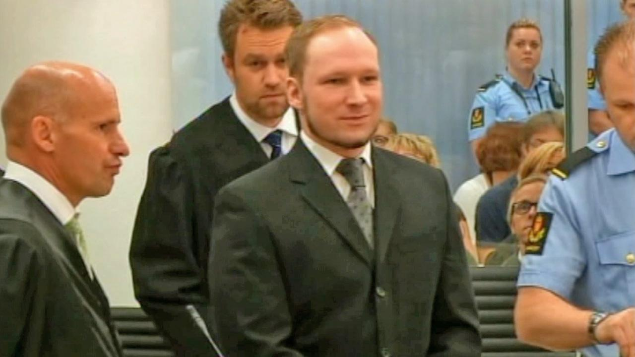 Mass murderer Anders Behring Breivik, arrives at the courtroom in Oslo Friday Aug. 24, 2012 .