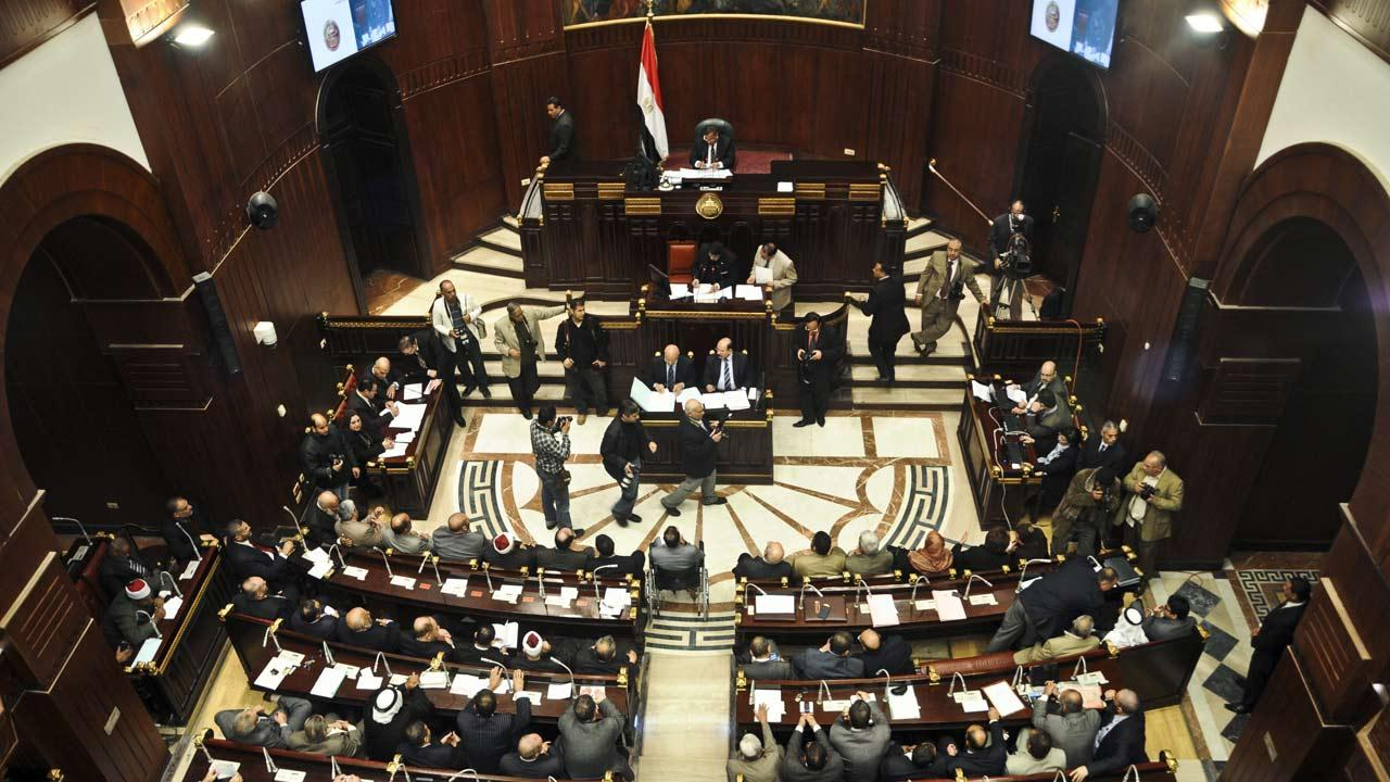 Members of the constitutional assembly attend a session at the Shura Council building in Cairo, Egypt, Wednesday, Dec. 26, 2012.