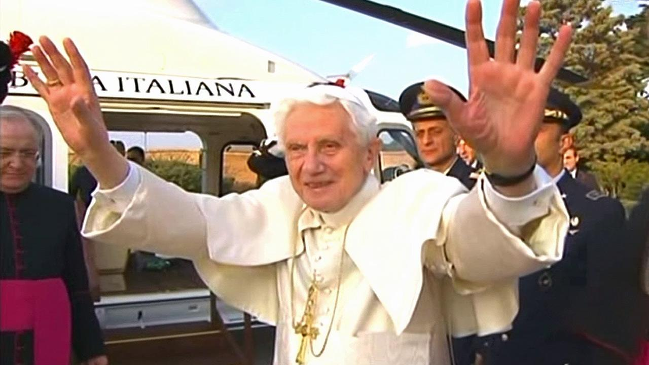 Pope Benedict XVI gets ready to depart from the Vatican on Thursday, Feb. 28, 2013.
