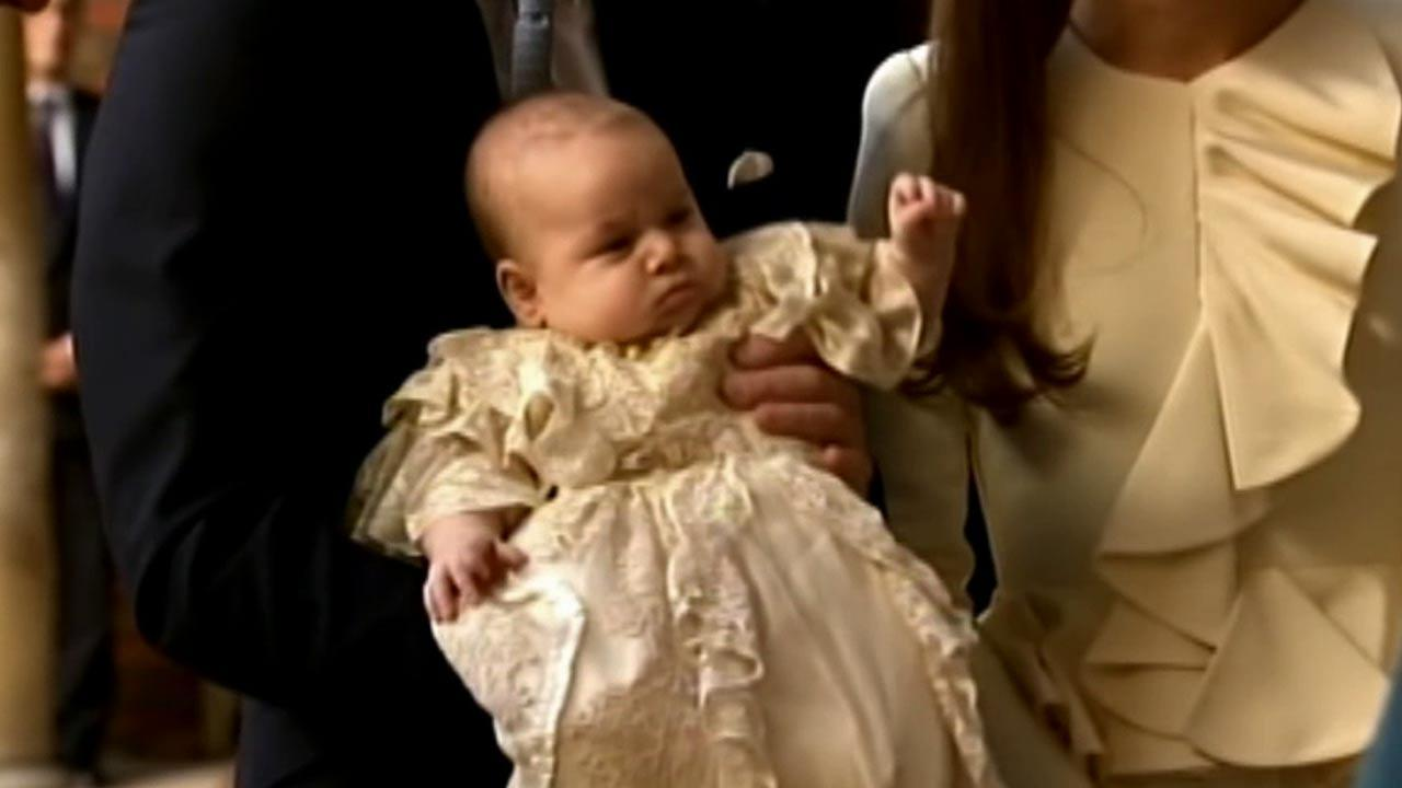 Prince William and his wife Kates 3-month-old son, Prince George, was christened at a major royal family gathering at Chapel Royal at St Jamess Palace in London, Wednesday, Oct. 23, 2013.