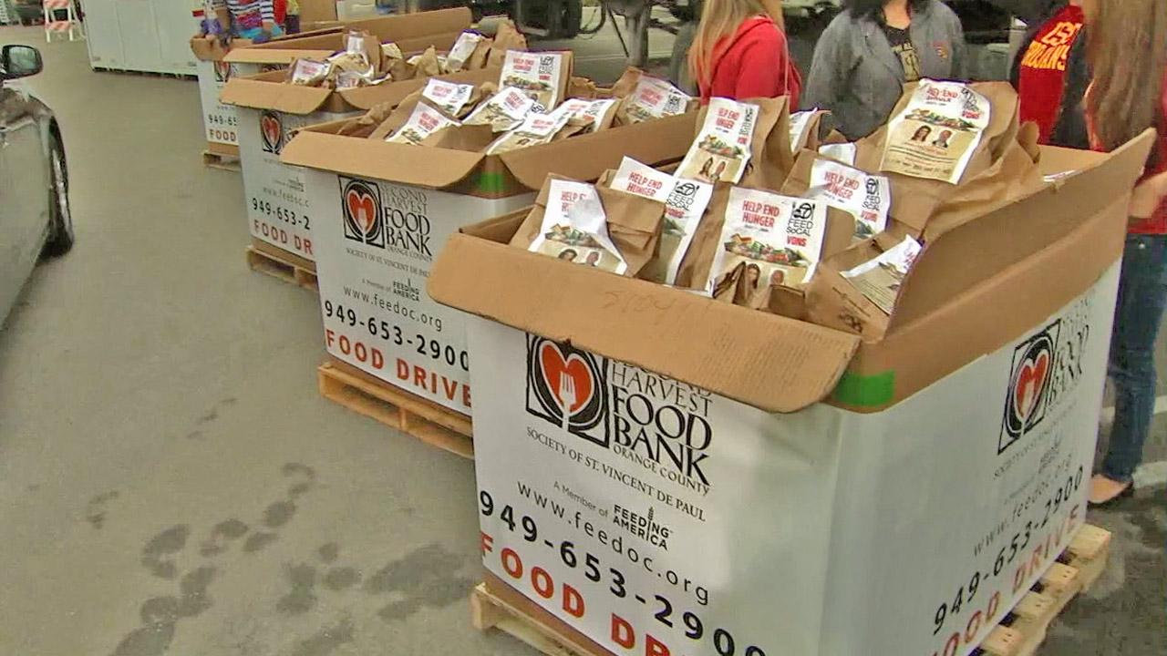 Boxes of food are shown at the Feed SoCal food drive at Vons in Costa Mesa on Friday, July 26, 2013.