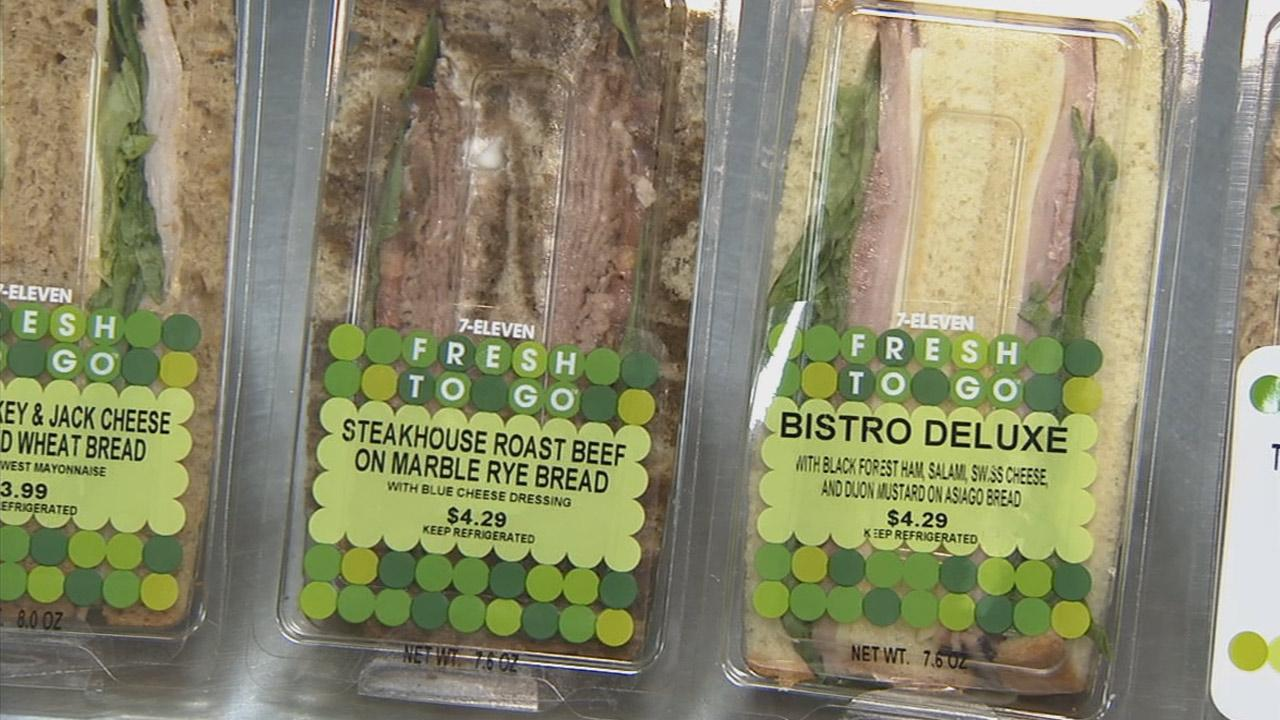 Alongside 7-Elevens hot dogs, pizzas and other high-calorie goodies, customers will find guilt-free food options, including fresh sandwiches, as seen in this photo from Wednesday, May 8, 2013.