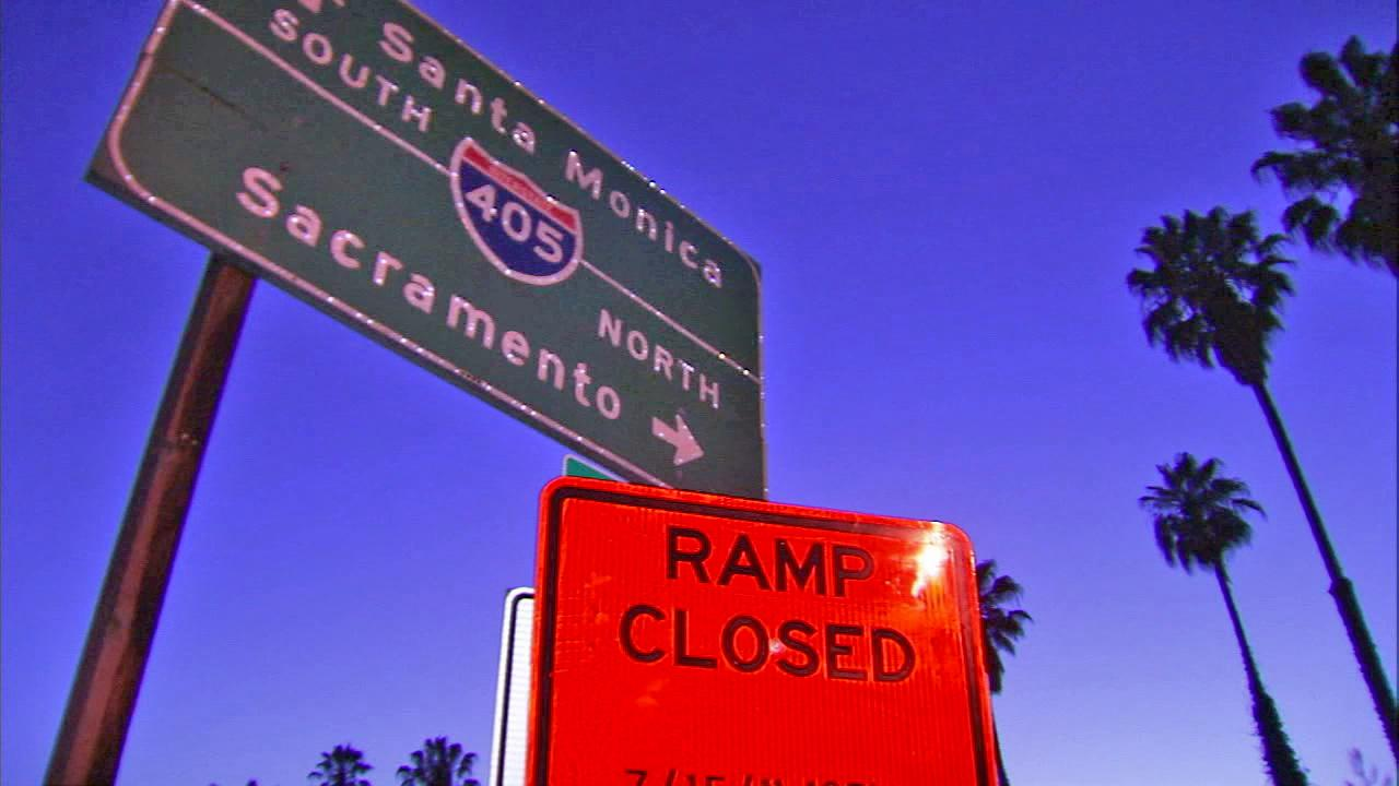 A closure sign along the 405 Freeway is seen in this undated file photo.