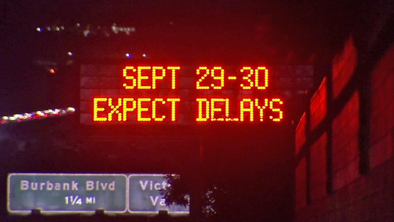 A sign warning motorists of the Carmageddon II closure is shown in this Aug. 17, 2012 photo.