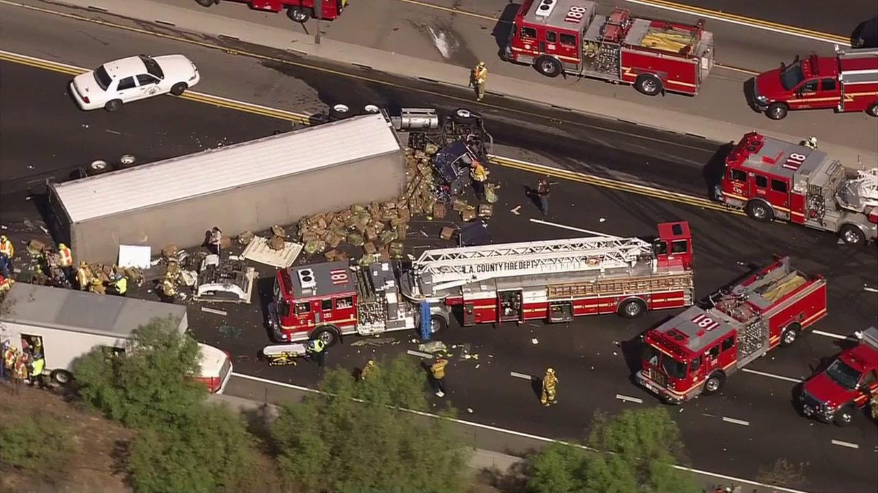 An Accident Involving Three Rigs Shut Down The Eastbound 60 Freeway In Diamond Bar On
