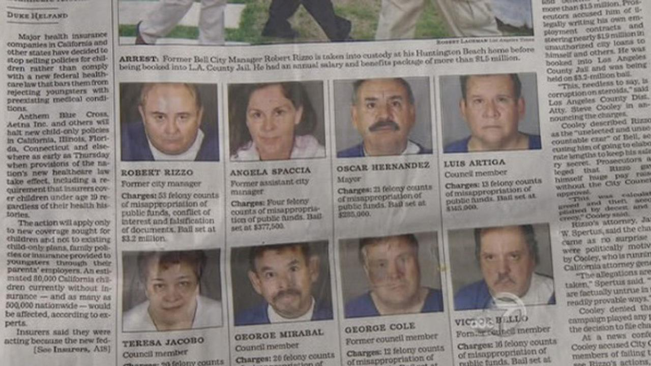 The former members of the Bell City Council are shown in photos in a newspaper.