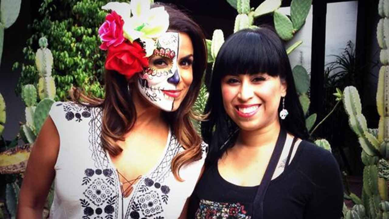 Alysha Del Valle gets her face painted by Artist Judith Bautista of Lil Bitter Pixie Paints on an episode of Vista L.A. that aired on Sunday, Oct. 20, 2013.