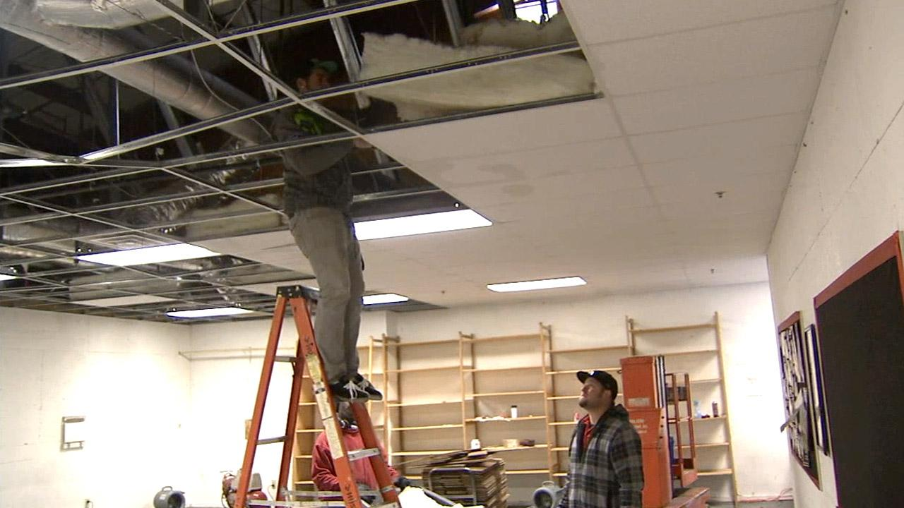 The cold weather on Monday, Jan. 14, 2013, caused water pipes to freeze and then burst, resulting in flooding and other damages Encore High School in Hesperia.