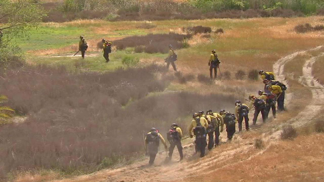 Orange County firefighters cut away brush during a live fire demonstration on Wednesday, May 1, 2013.