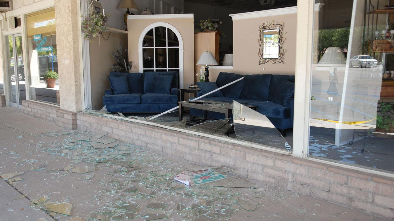 This photo provided by the Imperial Valley Press shows damage from a series of small to moderate earthquakes that rattled the Imperial Valley area Sunday, Aug. 26, 2012.