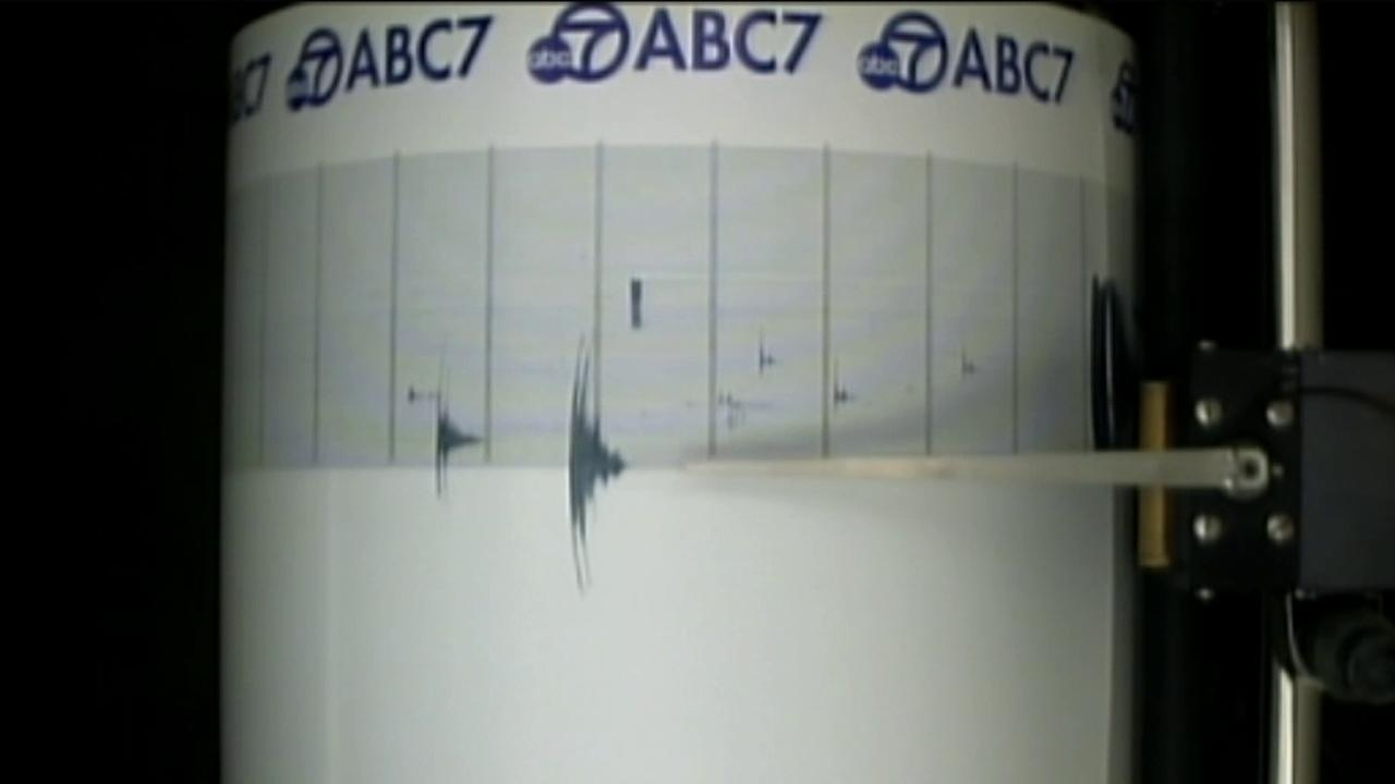 The ABC7 Quake Cam shows the needle moving during a 2.5-magnitude earthquake that struck near Yorba Linda early Thursday, Aug. 30, 2012.