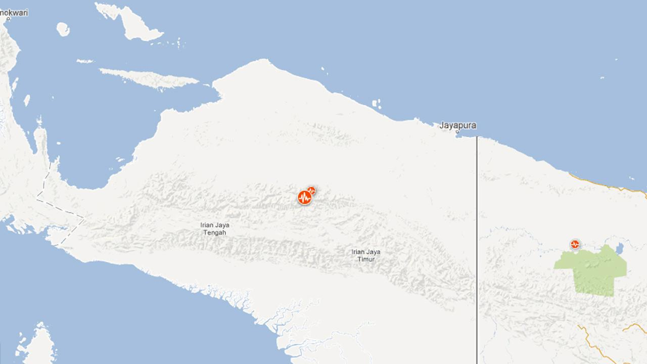 A map indicates the location of a 7.1-magnitude earthquake that struck eastern Indonesia on Saturday, April 6, 2013.