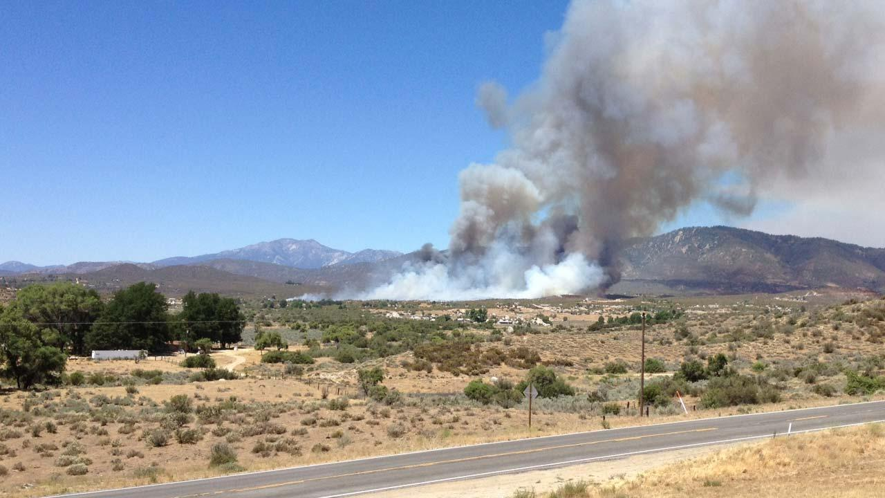 Tom McGiffin sent in this photo of a brush fire burning in Anza in Riverside County on Friday, June 29, 2012.