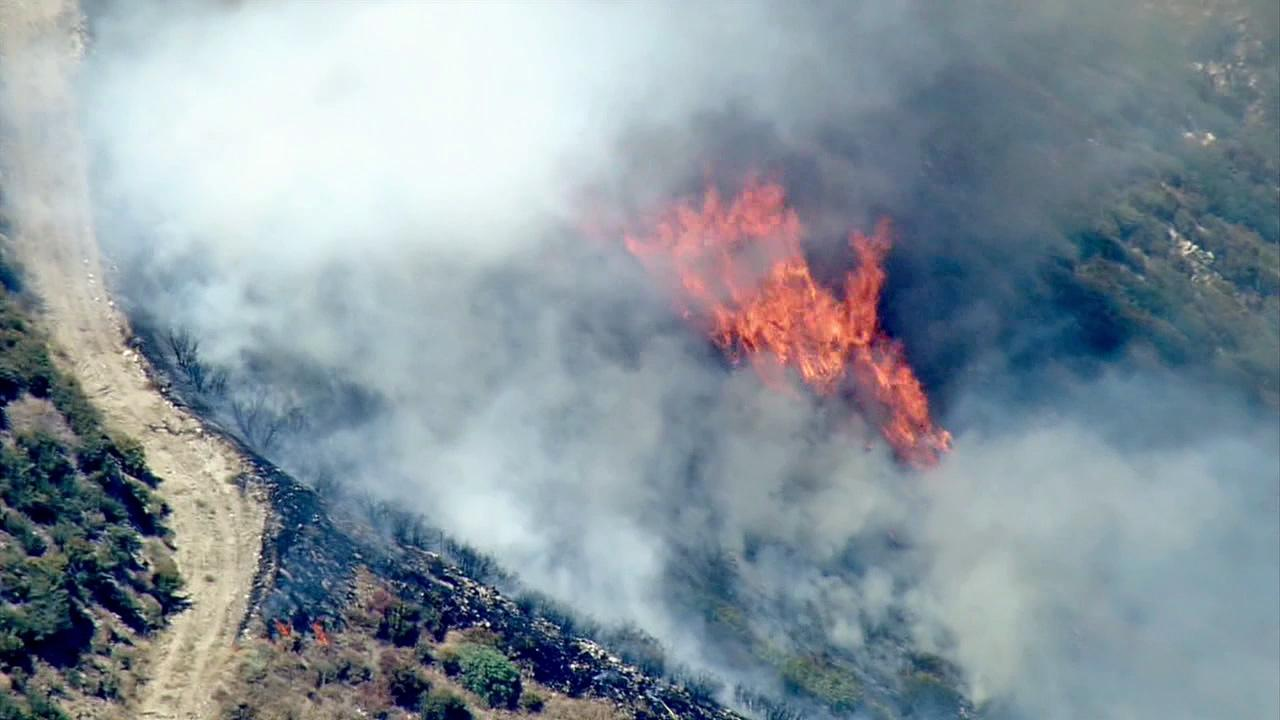A wildfire broke out in the San Bernardino Mountains near Waterman Canyon on Monday, July 9, 2012.