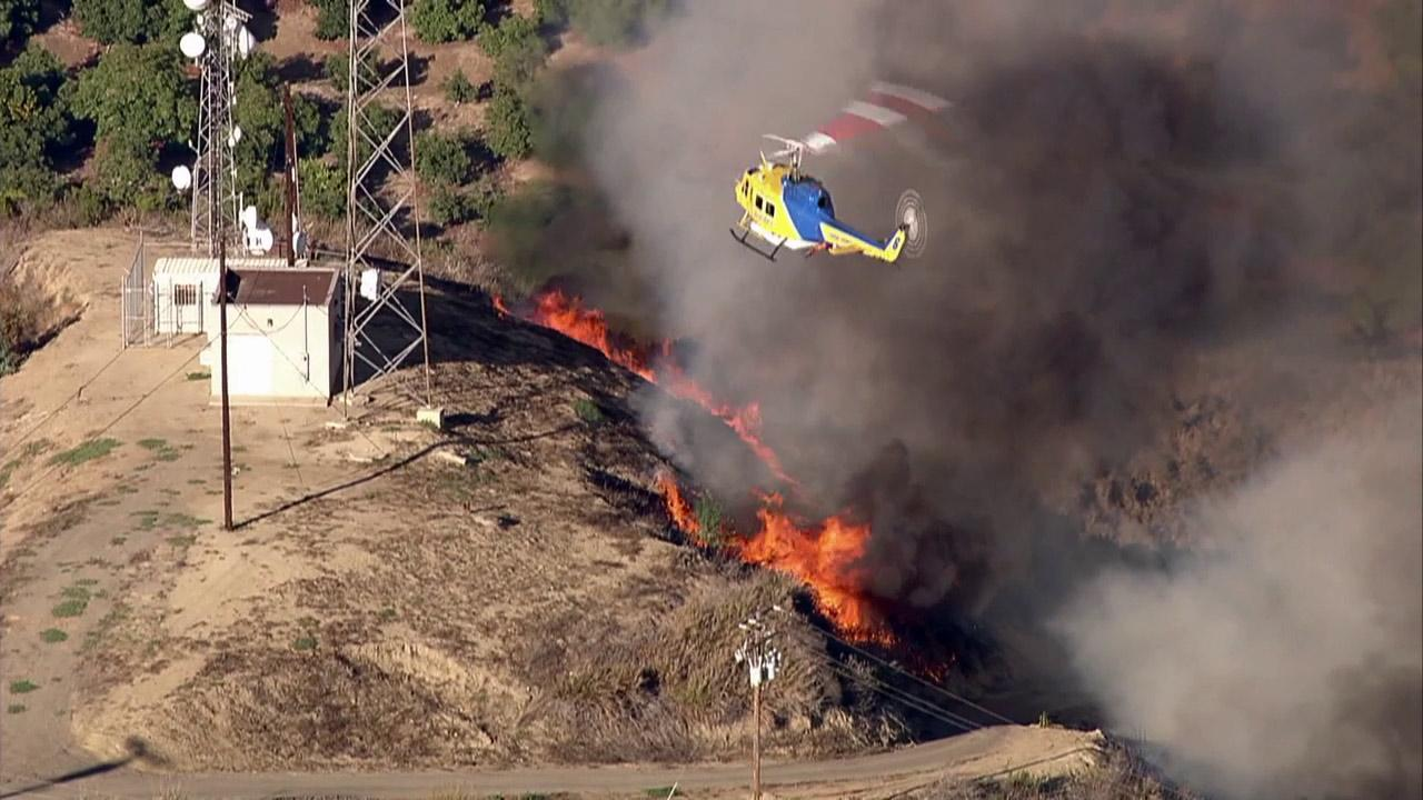 A fire burns north of Arroyo Verde Park in east Ventura on Monday, Aug. 27, 2012.
