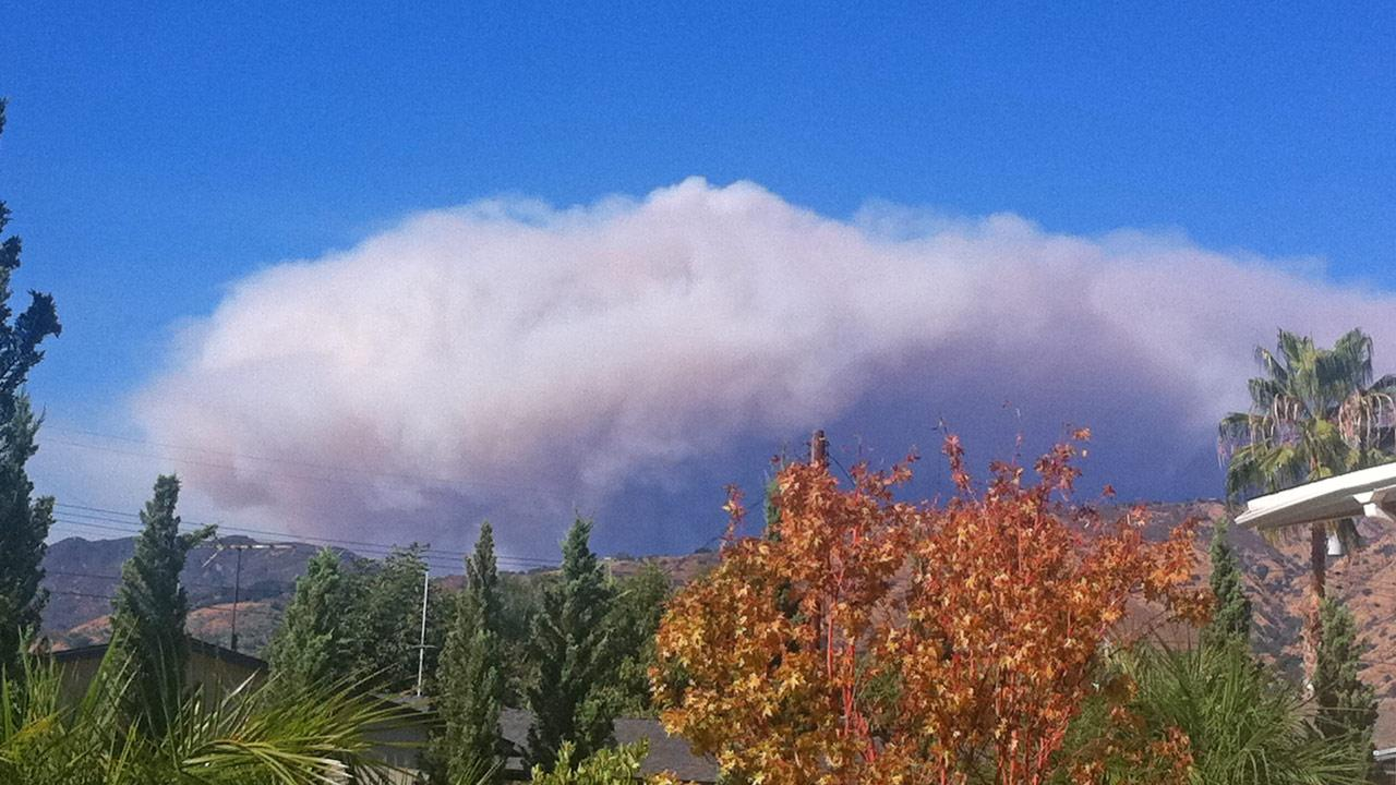 ABC7 viewer Sanja of Glendora snapped this photo of the wildfire burning in the San Gabriel Mountains on Sunday, Sept. 2, 2012.