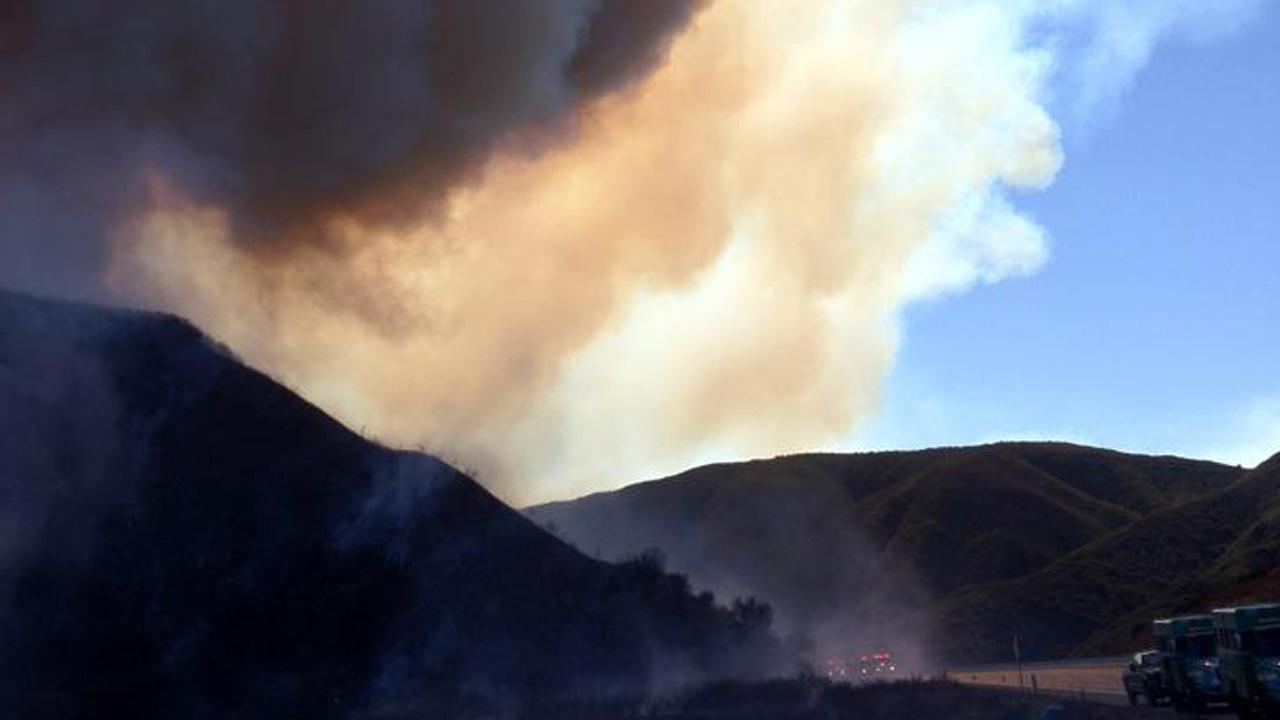 Smoke from a brush fire burning in the Cajon Pass is seen on Monday, Nov. 5, 2012.