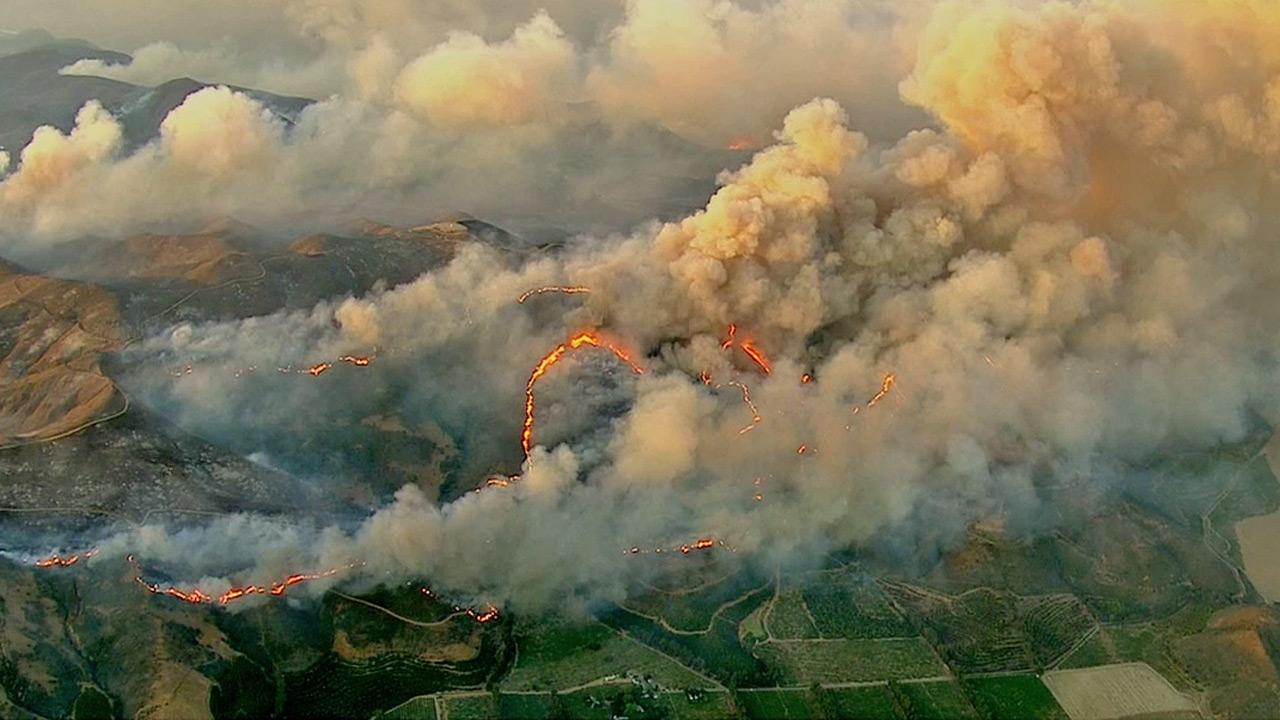 The Springs Fire can be seen from AIR7 HD on Friday, May 3, 2013.