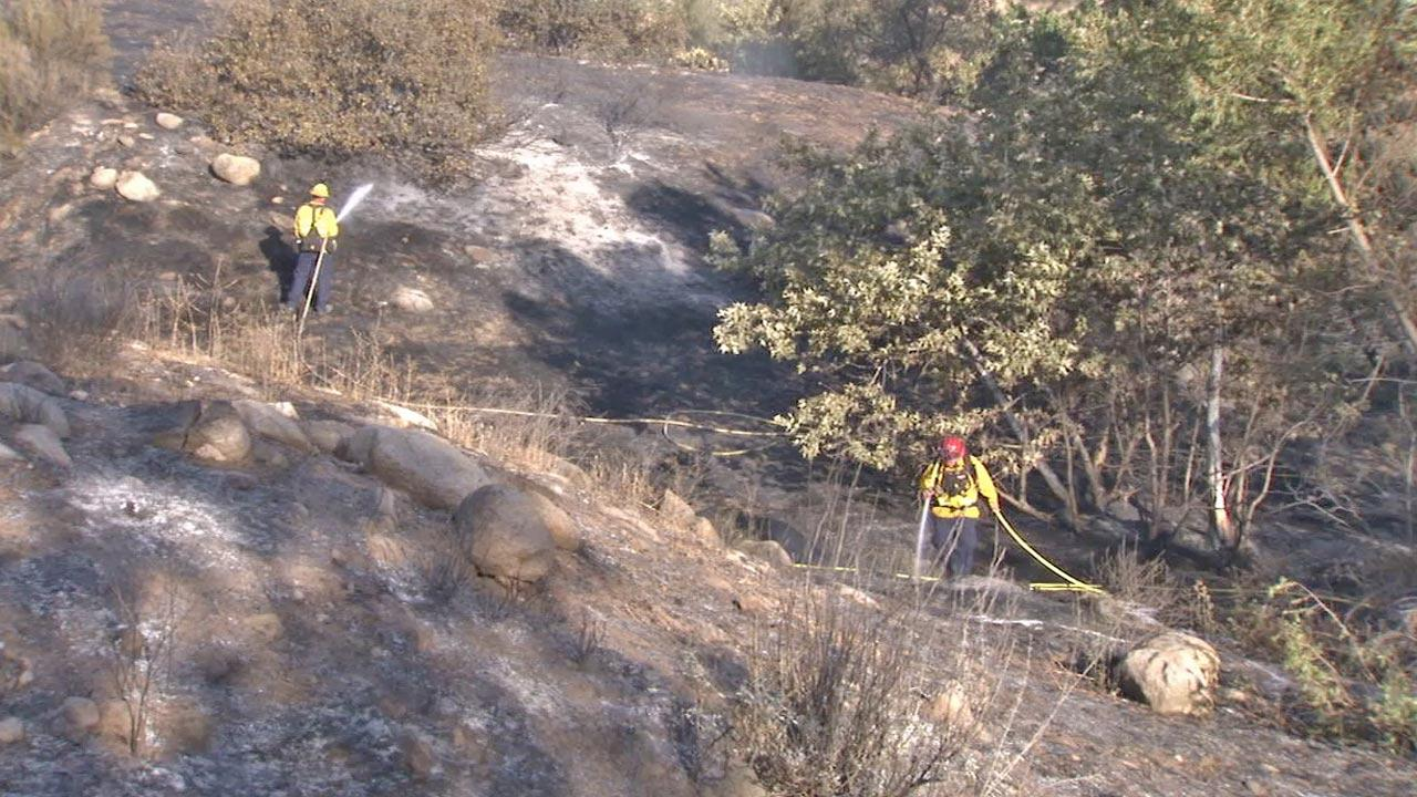 Fire crews on scene at a brush fire that broke out in Moreno Valley on Saturday, May 25, 2013.