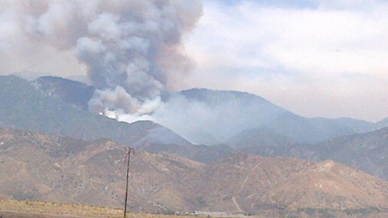 ABC7 viewer Tamela Bush sent this photo of smoke from a wildfire in the Morongo Reservation area as seen from the San Gorgonio Pass in the Inland Empire on Sunday, June 9, 2013.