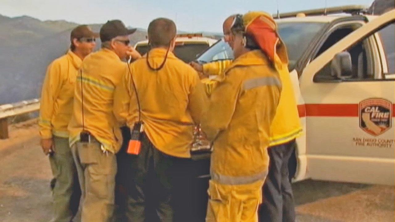 A brush fire began southeast of Julian, in San Diego County, at about 1 p.m. Saturday, July 6, 2013, east of Sunrise Highway in the Chariot Mountain area.