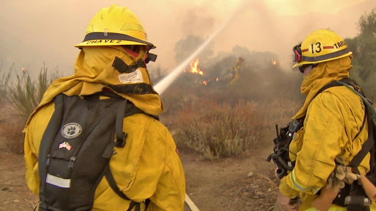 Firefighters battle the Falls Fire in the Cleveland National Forest in Riverside County on Monday, Aug. 5, 2013 photo.