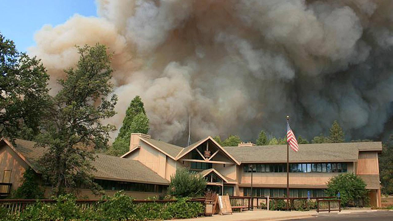 In this undated photo provided by the U.S. Forest Service, the Rim Fire burns near Groveland Ranger Station in Groveland, Calif.