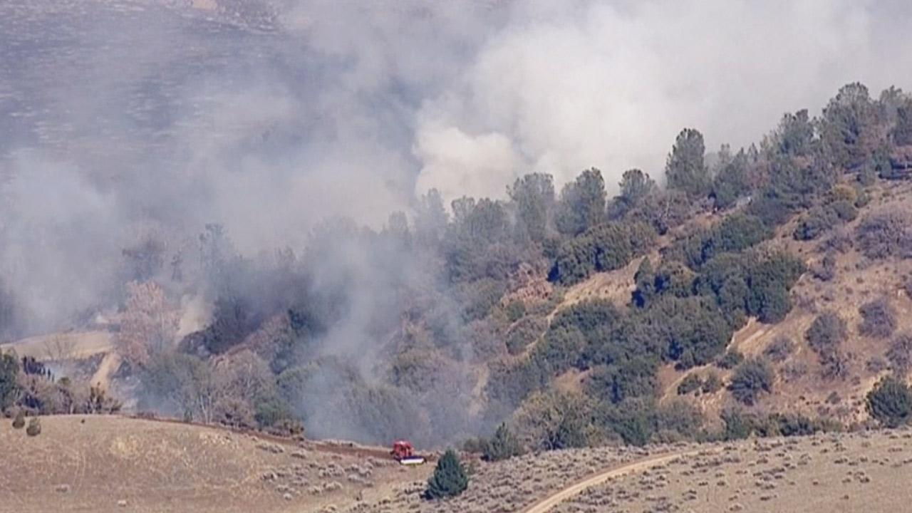 A brush fire burned near Quail Lake in the Gorman area on Friday, March 14, 2014.