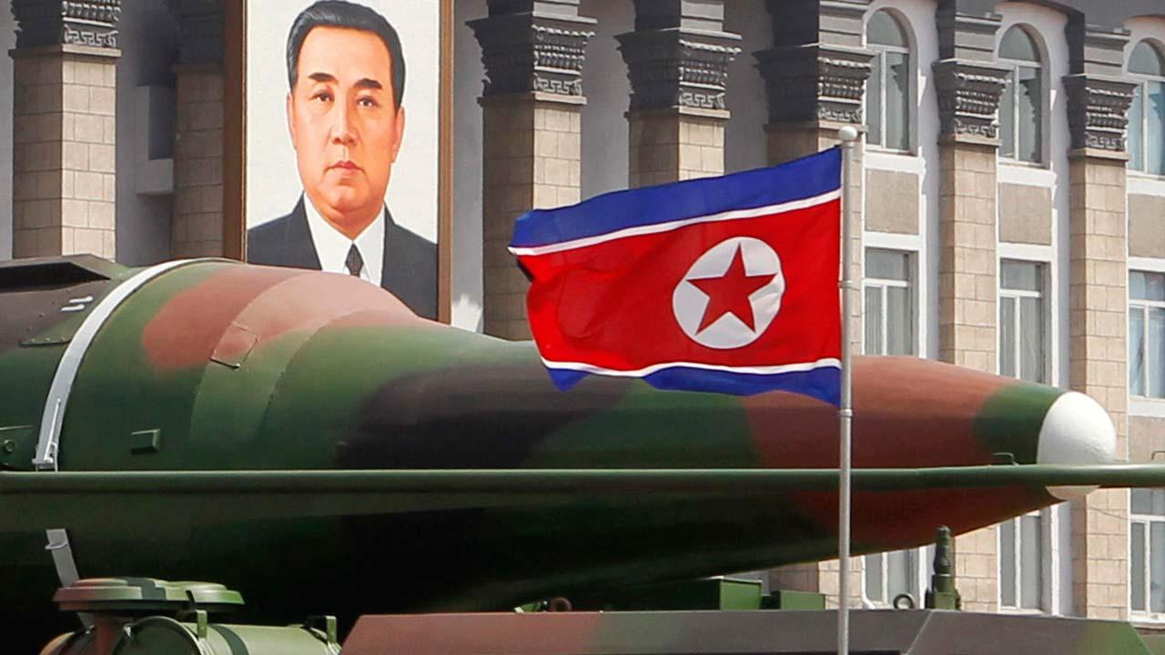 new missile is carried during a mass military parade at the Kim Il Sung Square in Pyongyang, North Korea