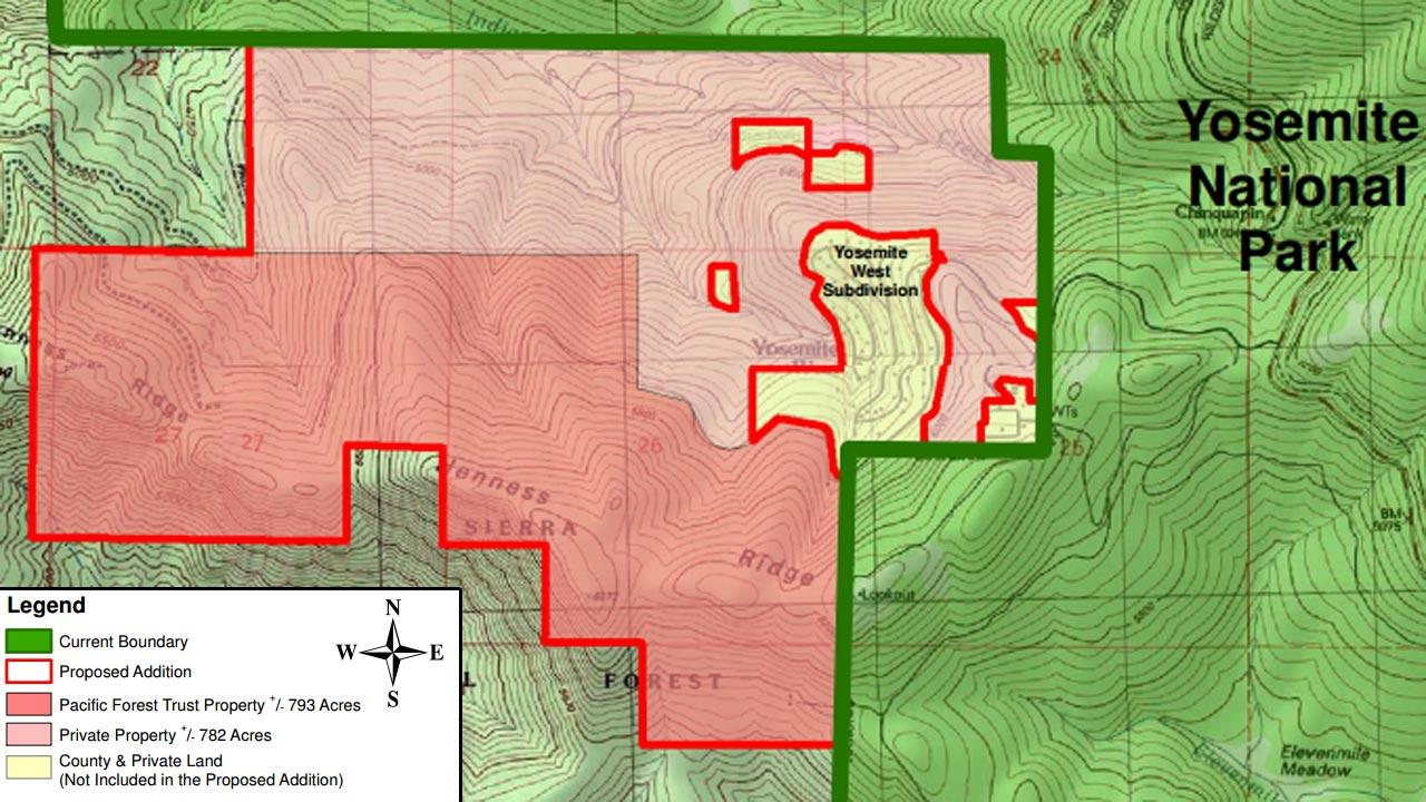 Map of the proposed addition to Yosemite National Park
