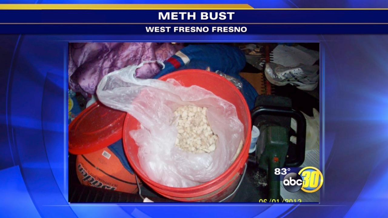 Bucket full of meth found during Fresno traffic stop